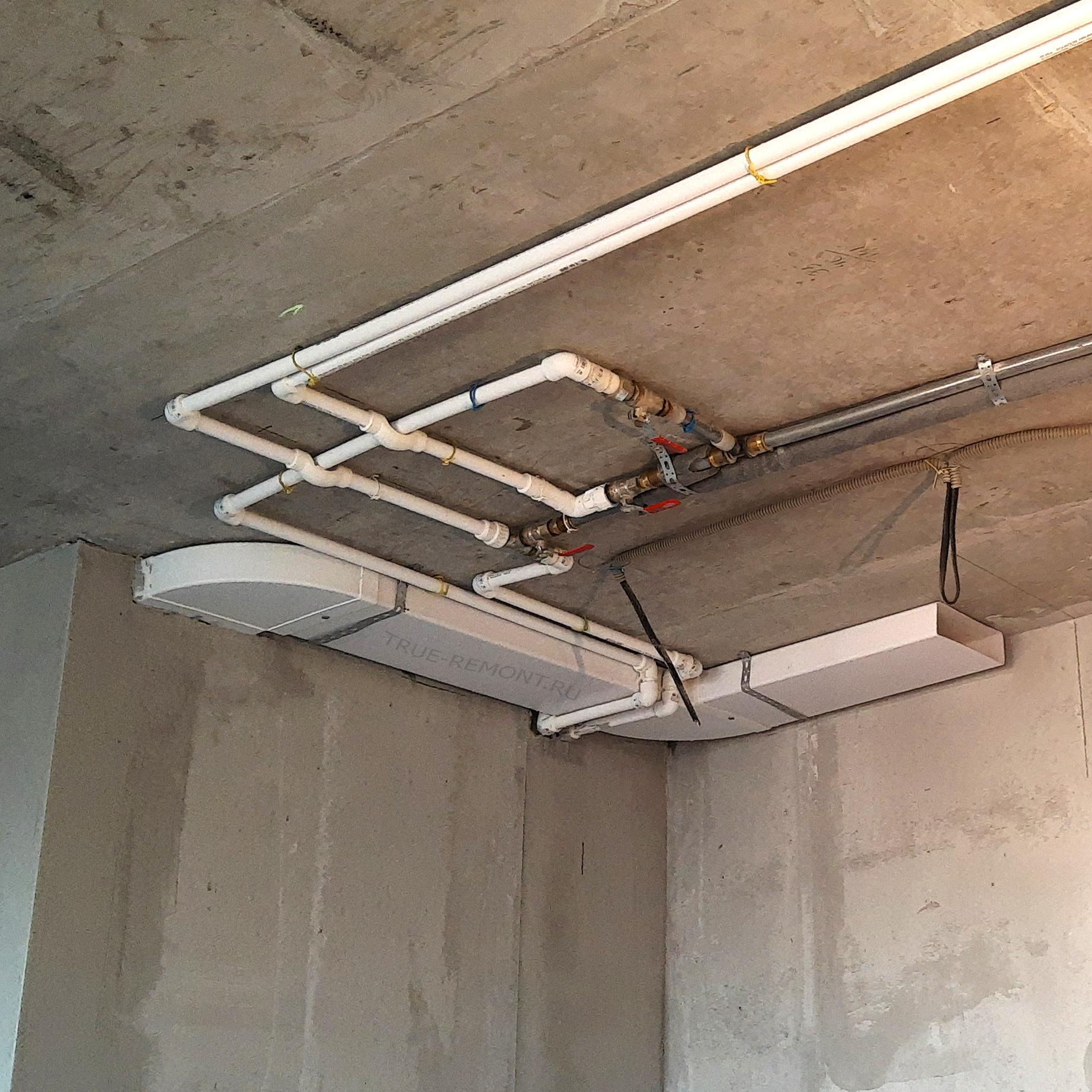 Реализация водопроводной разводки на потолке